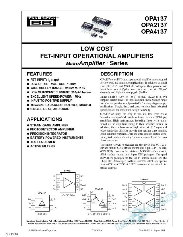 Low Cost FET-Input Operational Amplifiers