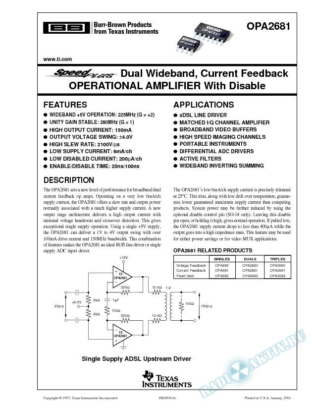 OPA2681: SpeedPlus Dual Wideband, Current Feedback Op Amp with Disable (Rev. A)