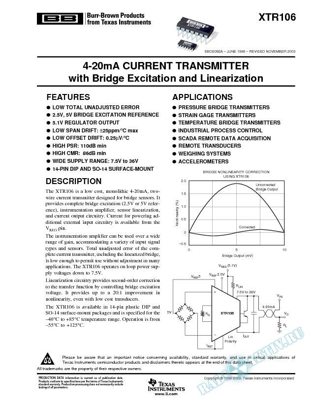 XTR106: 4-20mA Current Transmitter with Bridge Excitation And Linearization (Rev. A)