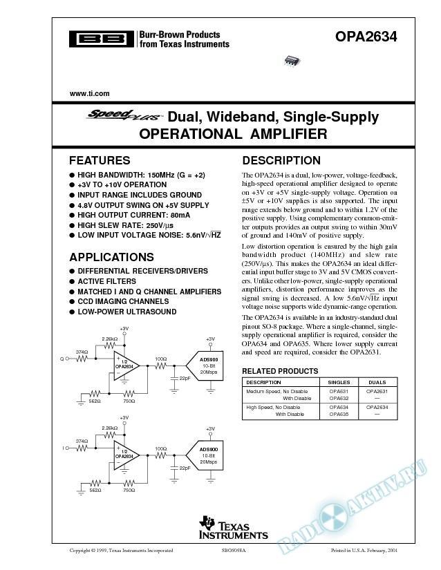 SpeedPlus Dual, Wideband, Single-Supply Operational Amplifier (Rev. A)