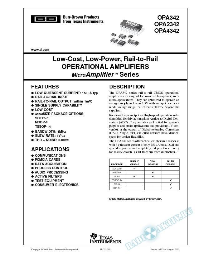 OPA342,2342,4342: Low-Cost,Low-Power,Rail-to-Rail Op Amps MicroAmplifier Series (Rev. A)