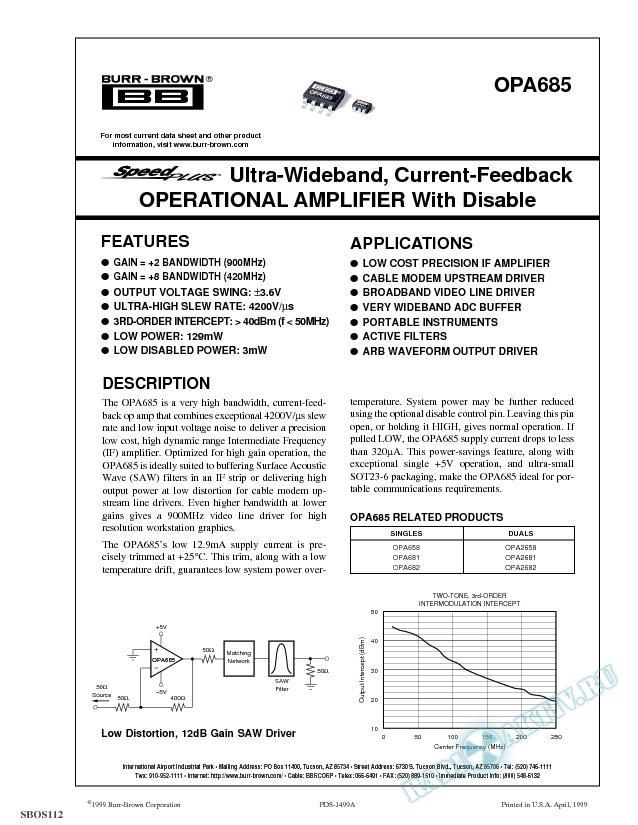SpeedPlus Ultra-Wideband, Current-Feedback Operational Amplifier With Disable