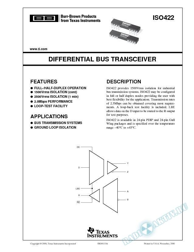 Differential Bus Transceiver  (Rev. A)