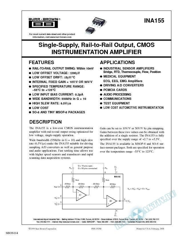 Single-Supply, Rail-to-Rail Output, CMOS Instrumentation Amplifier