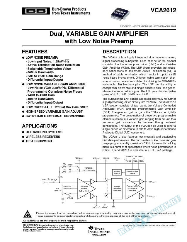 VCA2612: Dual, Variable Gain Amplifier with Low Noise Preamp (Rev. C)
