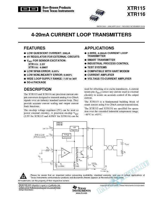 XTR115, XTR116: 4-20mA Current Loop Transmitters (Rev. A)