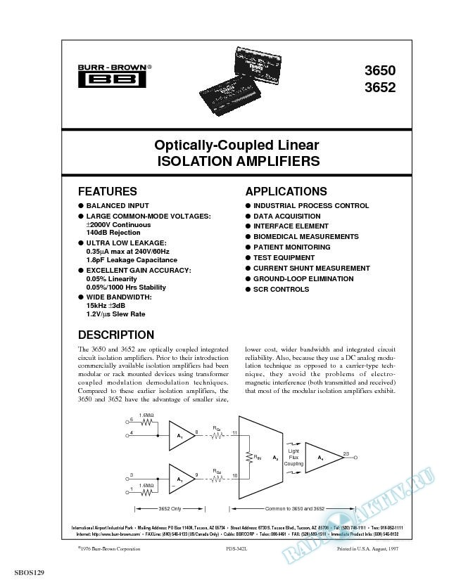Optically Coupled Linear Isolation Amplifier