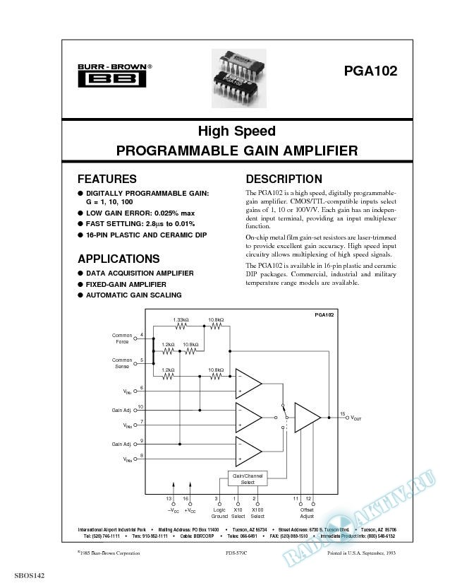 High Speed Programmable Gain Amplifier
