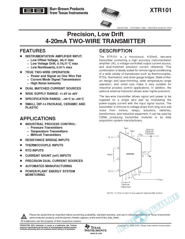 XTR101: Precision, Low Drift 4-20mA Two-Wire Transmitter (Rev. A)