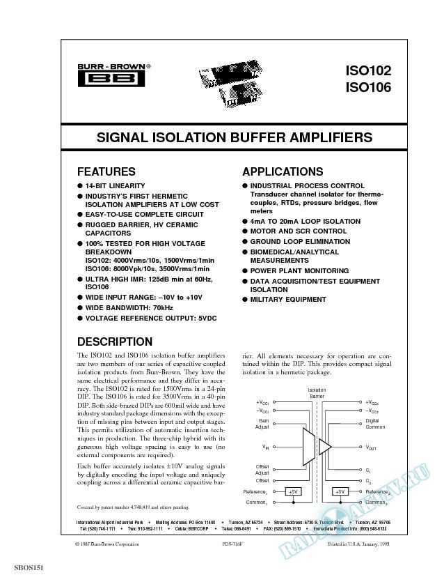 Low Cost,High Voltage,Wide Bw Standard Hermetic DIP Signal Isolation Buffer Amps