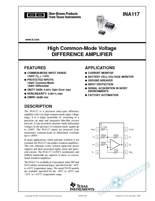 INA117: High Common-Mode Voltage Difference Amplifier (Rev. A)