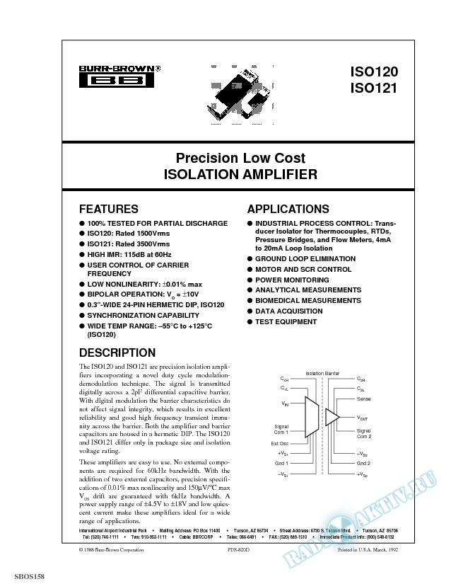 Precision Low Cost Isolation Amplifier