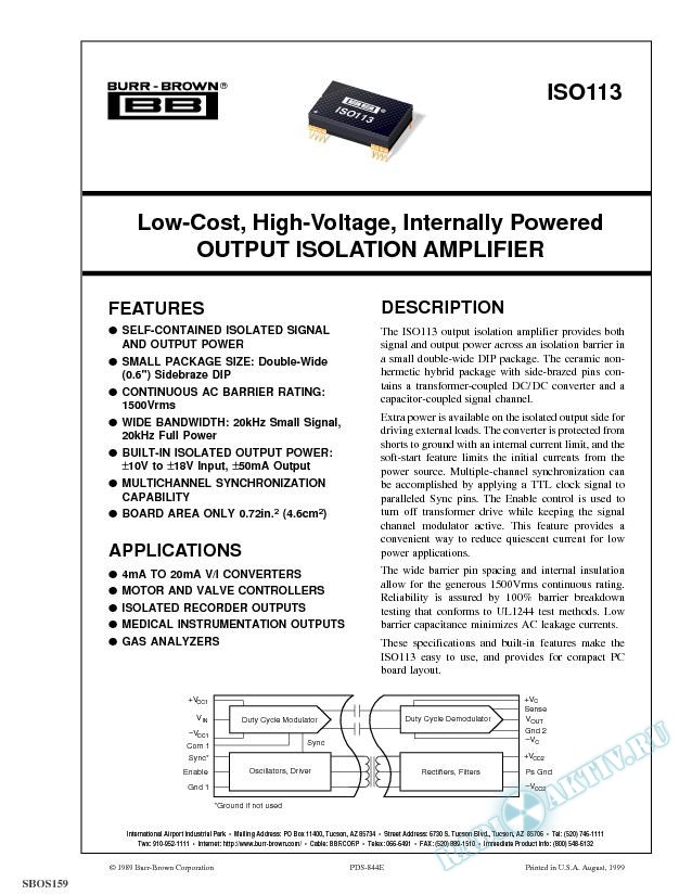 Low-Cost, High Voltage, Internally Powered Output Isolation Amp