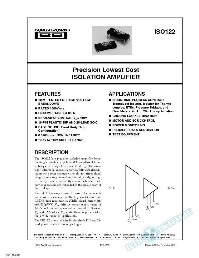 Precision Lowest Cost Isolation Amplifier