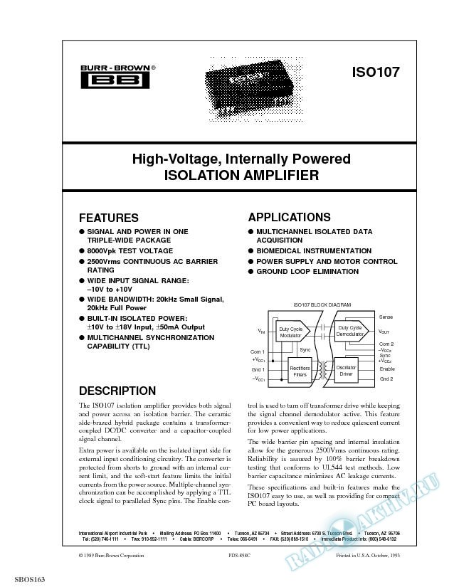 High-Voltage, Internally Powered Isolation Amplifier