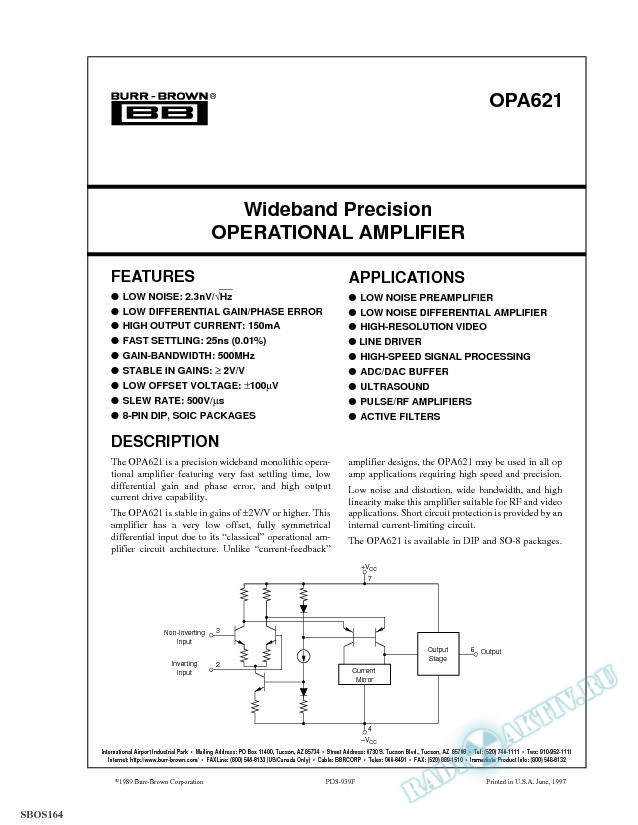 Wideband Precision Operational Amplifier