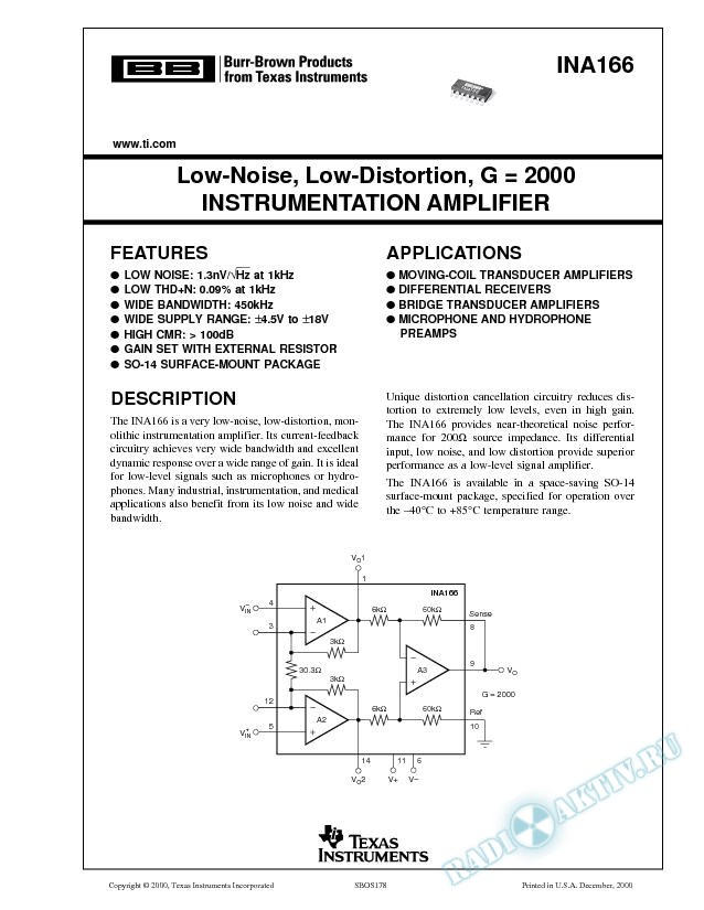 Low-Noise, Low-Distortion, G=2000 Instrumentation Amplifier