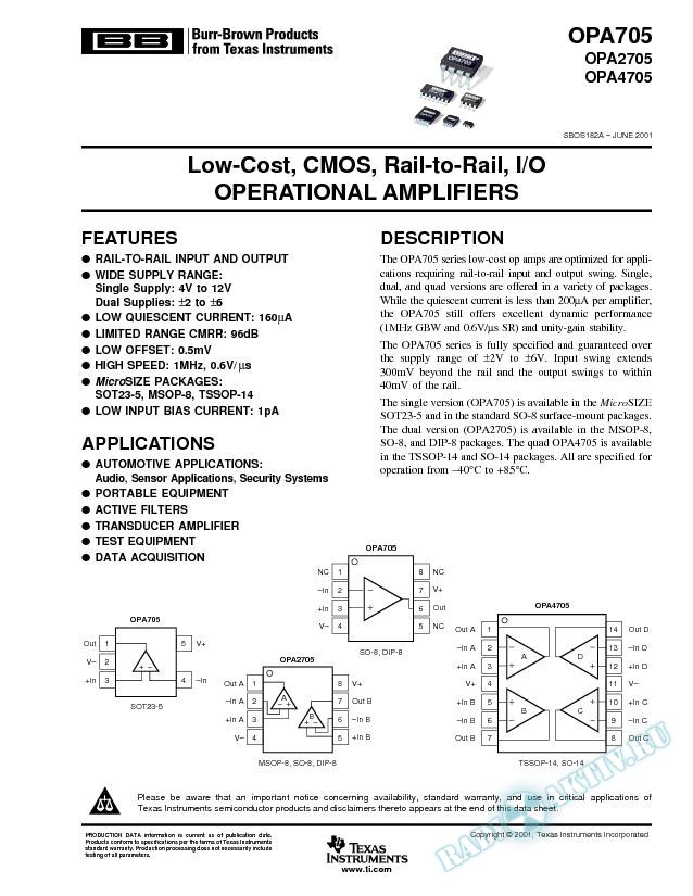 OPA705,2705,4705: Low-Cost, CMOS, Rail-to-Rail, I/O, Operational Amplifiers (Rev. A)