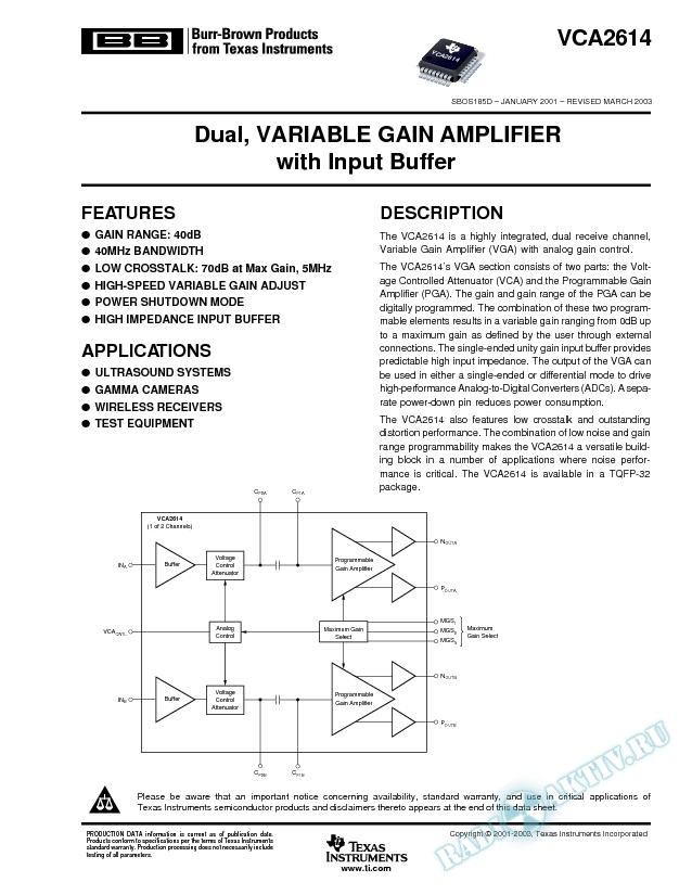 VCA2614: Dual, Variable Gain Amplifier with Input Buffer (Rev. D)