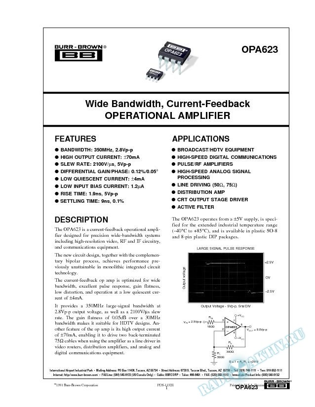 Wide-Bandwidth Current-Feedback Operational Amplifier