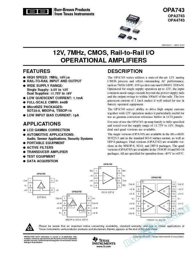 OPA743, OPA2743, OPA4743: CMOS, Rail-to-Rail, I/O Operational Amplifiers