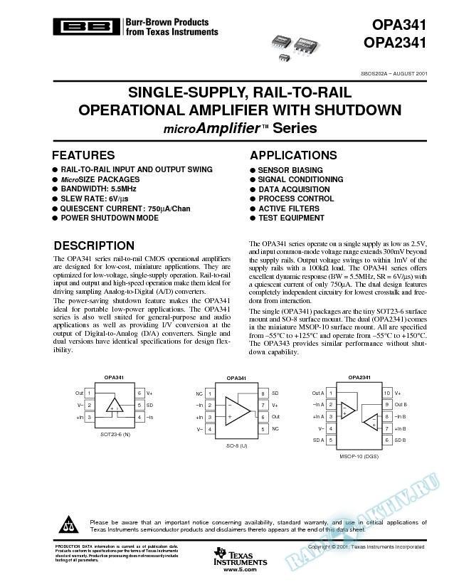 OPA341,OPA2341: Single-Supply, Rail-to-Rail Op-Amp with Shutdown MicroAmp Series (Rev. A)