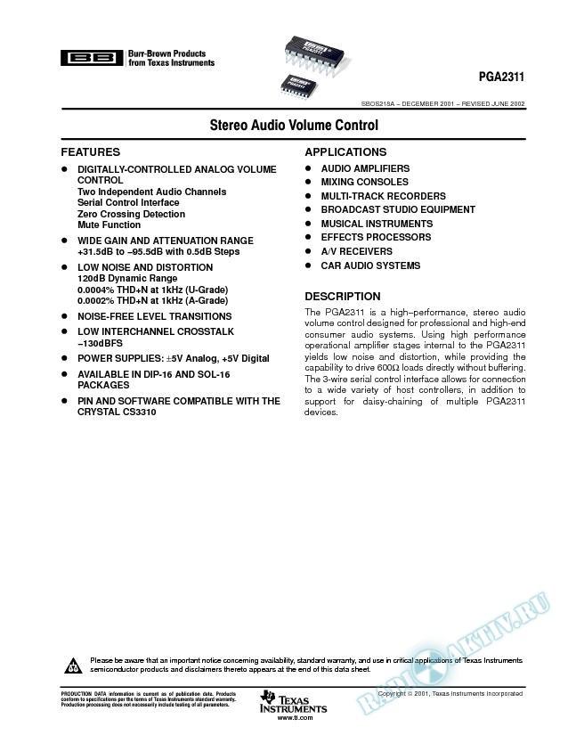 PGA2311: Stereo Audio Volume Control (Rev. A)