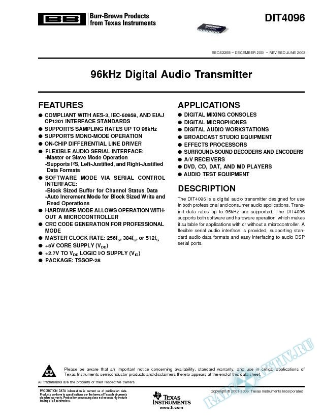 DIT4096: 96kHz Digital Audio Transmitter (Rev. B)