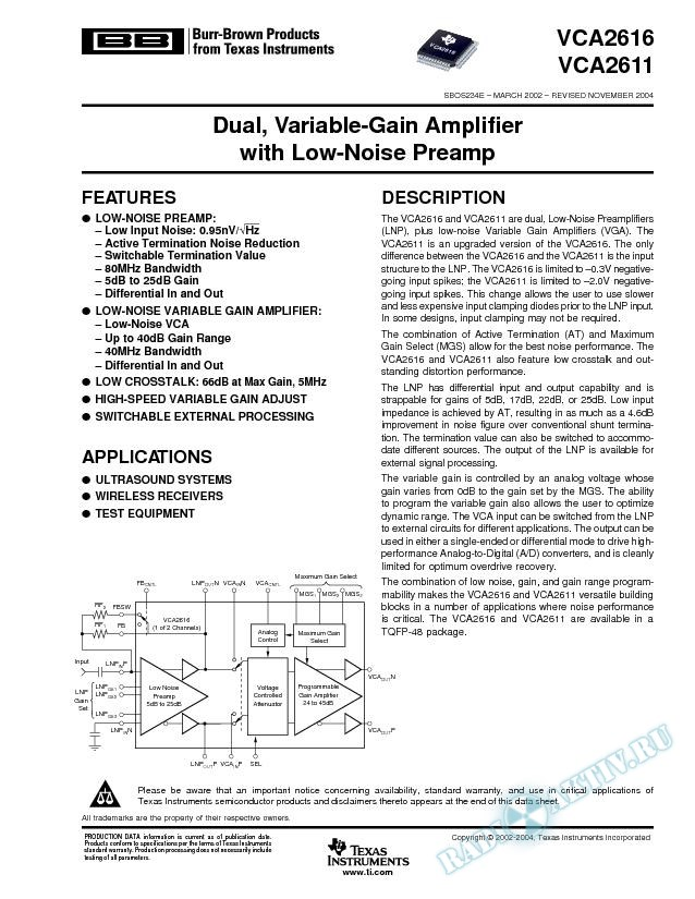 VCA2616, VCA2611: Dual, Variable-Gain Amplifier with Low-Noise Preamp (Rev. E)