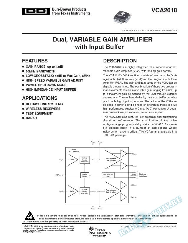 VCA2618: Dual, Variable Gain Amplifier with Input Buffer (Rev. B)