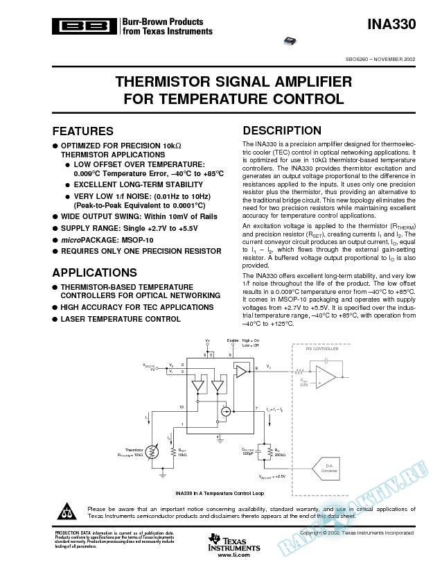 INA330: Thermistor Signal Amplifier for Temperature Control