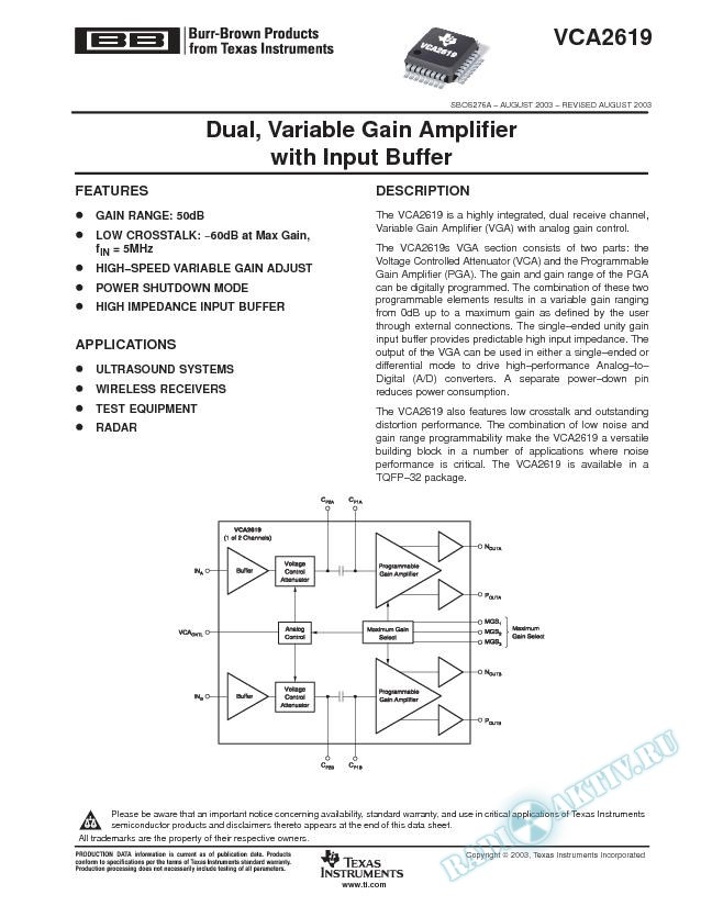 VCA2619: Dual, Variable Gain Amplifier with Input Buffer (Rev. A)