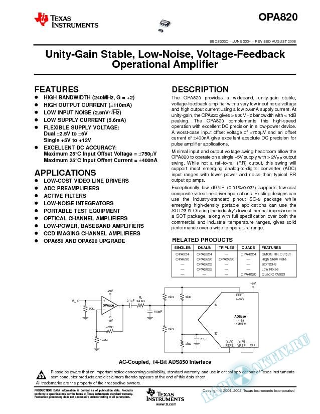Unity-Gain Stable, Low-Noise, Voltage-Feedback Operational Amplifier (Rev. C)