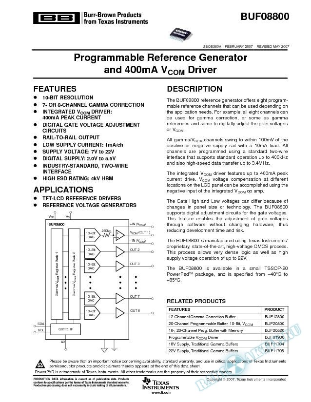 Programmable Reference Generator and 400mA Vcom Driver (Rev. A)