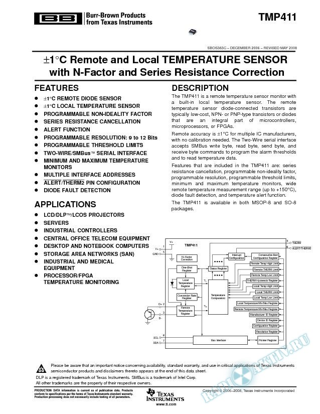 В±1В°C Remote and Local Temp Sensor with N-Factor and Series Resistance Correction (Rev. C)