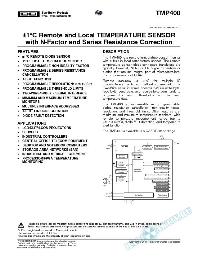 В±1В°C Remote and Local Temp Sensor with N-Factor and Series Resistance Correction