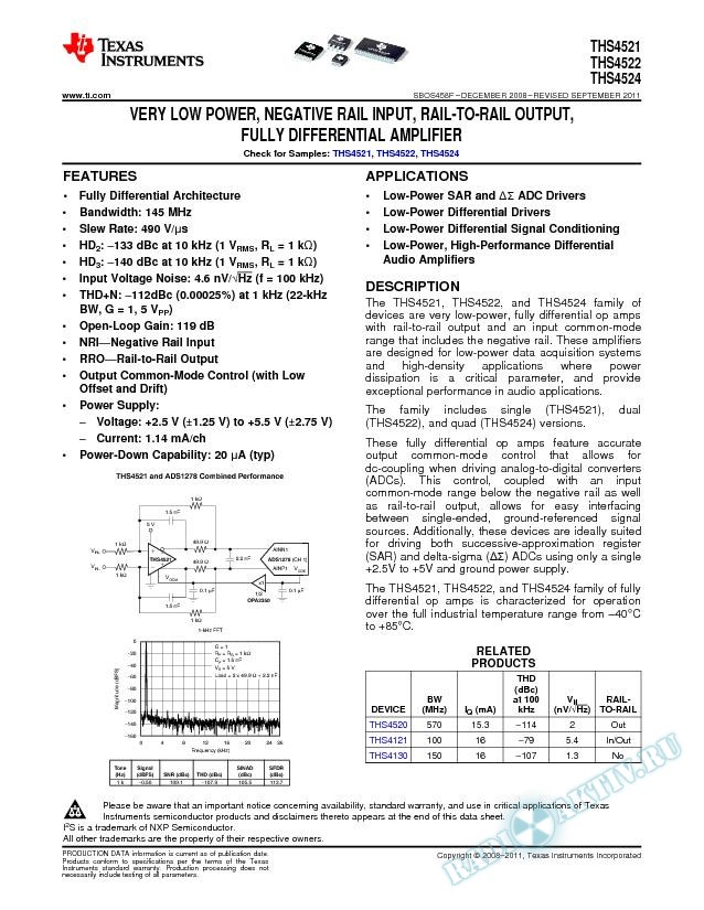 Very Low Power, Negative Rail Input, Rail-to-Rail Output, Fully Differential Amp (Rev. F)