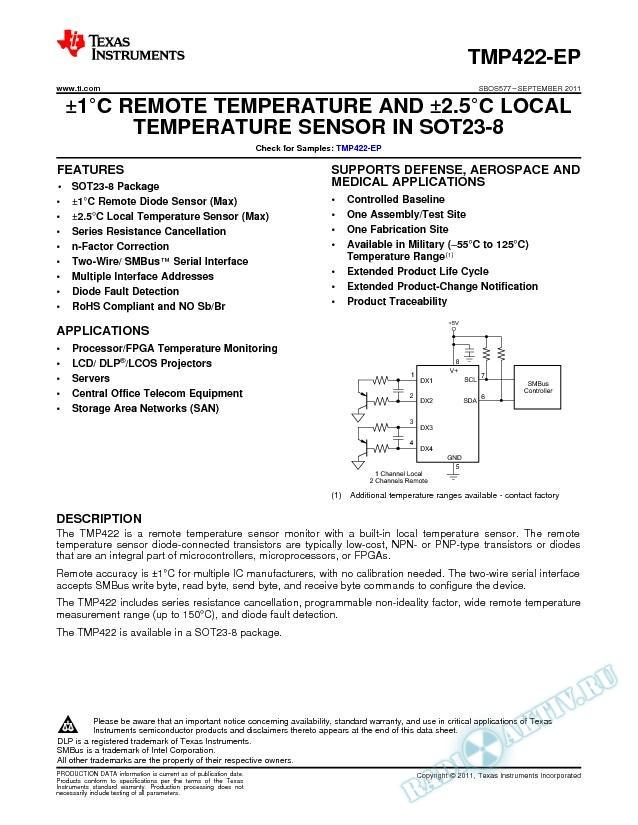 В±1В°C Remote and Local Temperature Sensor in SOT23-8 .