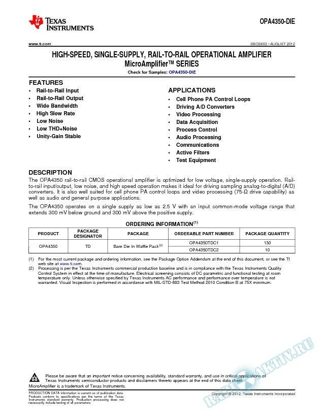 High-Speed, Single Supply, Rail-to-Rail Op Amp MicroAmplifier Series