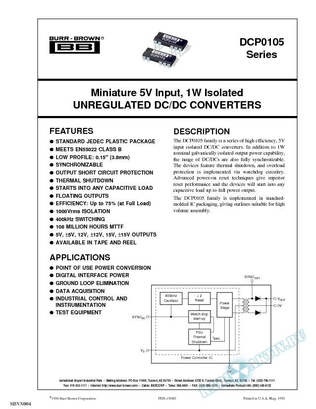 Miniature 5V Input, 1W Isolated Unregulated DC/DC Converters