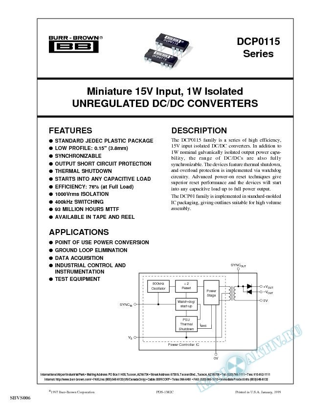 Miniature 15V Input, 1W Isolated Unregulated DC/DC Converters