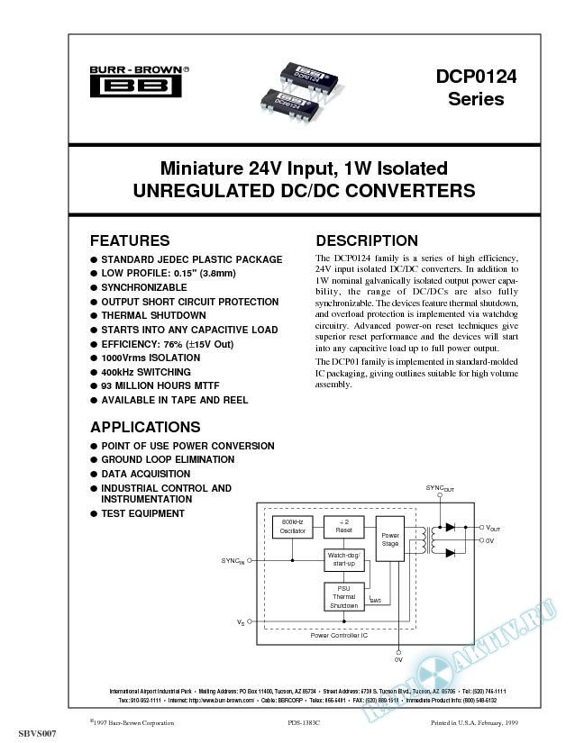 Miniature 24V Input, 1W Isolated Unregulated DC/DC Converters