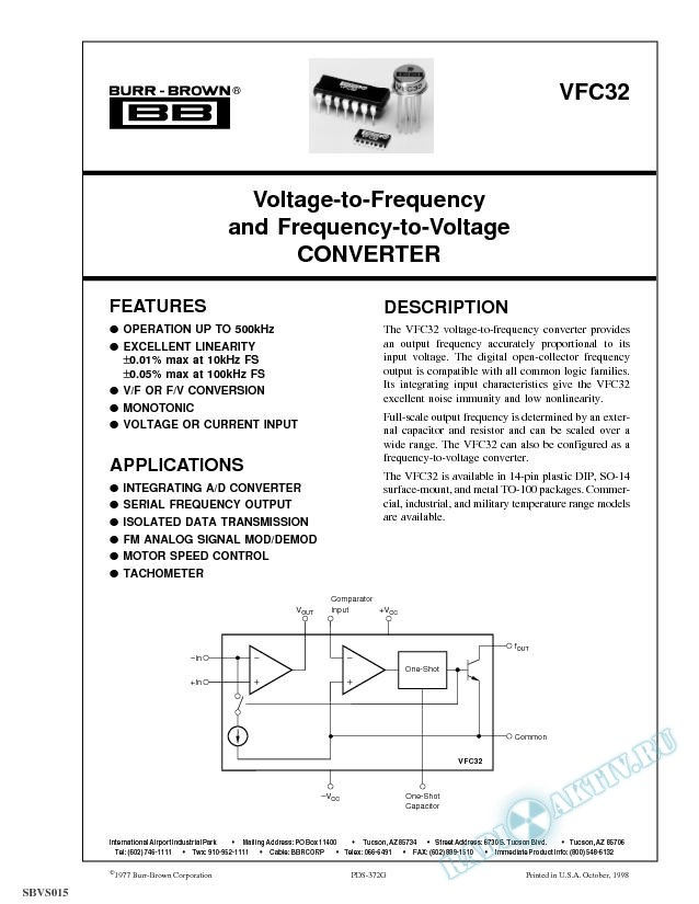 Voltage-to-Frequency and Frequency-to-Voltage Converter