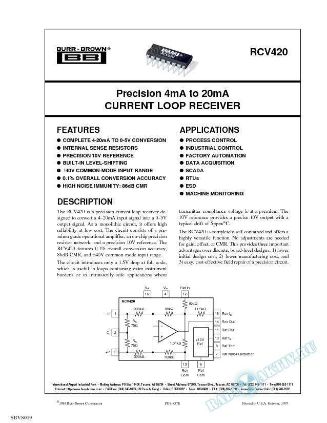 Precision 4mA to 20mA Current Loop Receiver