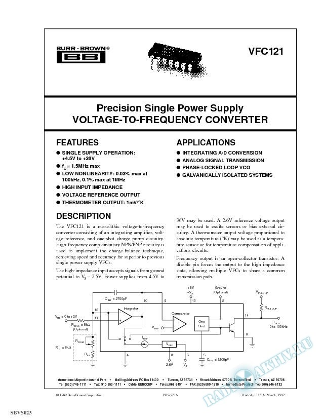 Precision Single Power Supply Voltage-to-Frequency Converter