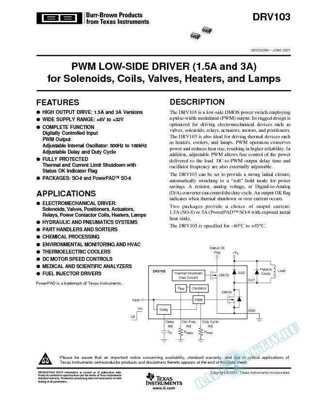 DRV103: PMW Low-Side Driver for Solenoids, Coils, Valves, Heaters, Lamps (Rev. A)