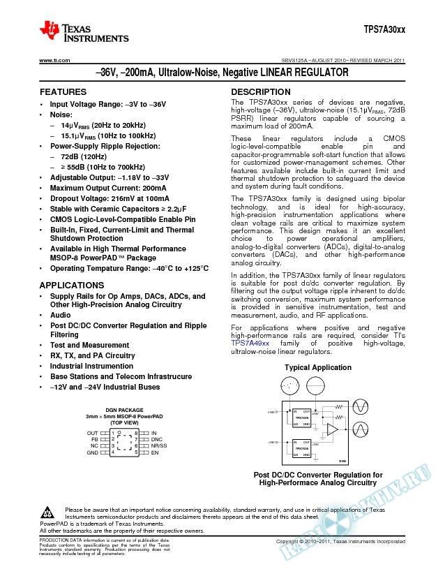 -36V, -200mA, Ultralow-Noise, Negative Linear Regulator (Rev. A)