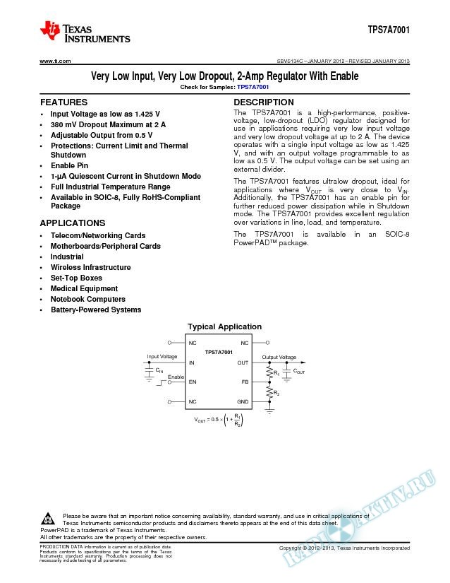 Very Low Input, Very Low Dropout, 2-Amp Regulator With Enable (Rev. C)
