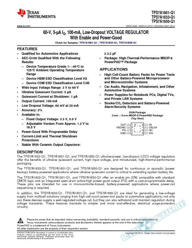 60-V, 5-ОјA IQ, 100-mA, Low-Dropout Voltage Regulator, TPS7A16xx-Q1 (Rev. B)