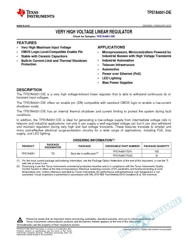 Very High Voltage Linear Regulator